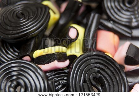 Detail of  group of Liquorice snails in color