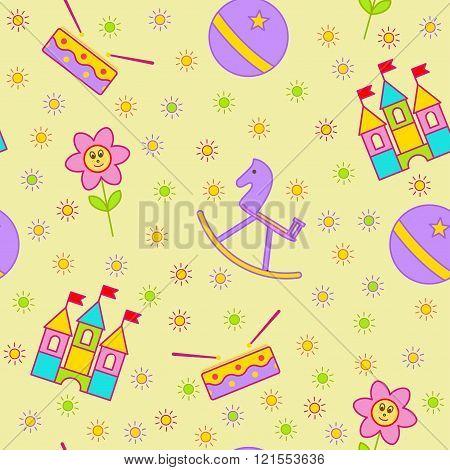 Seamless children's background. Seamless vector illustration of flower, ball, hors and castle