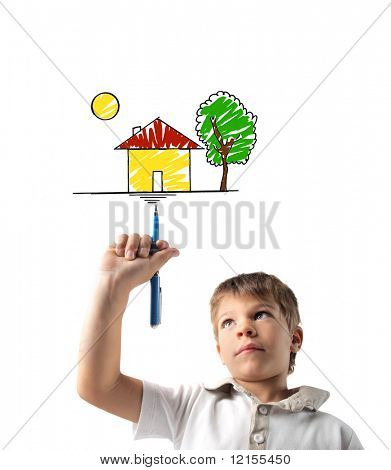 child drawing an home with felt pen