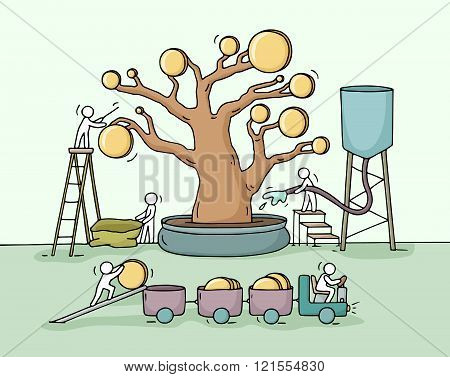 Sketch of working little people harvest a money tree with golden coins. Doodle cute miniature witn workers collect money and preparing for the big profit. Hand drawn cartoon vector illustration for business design and infographic.