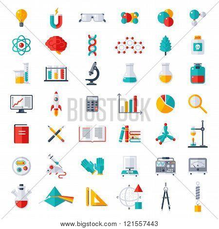 Physics, Chemistry, Biology Icons Set