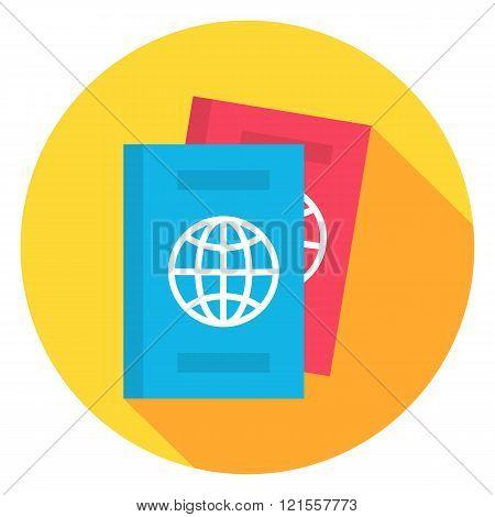 Document Passport Circle Icon