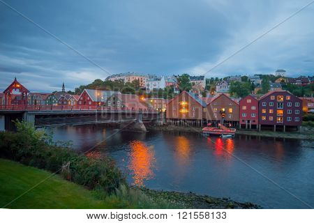 Colorful Houses On The Bank Of The Nidelva River,  Trondheim