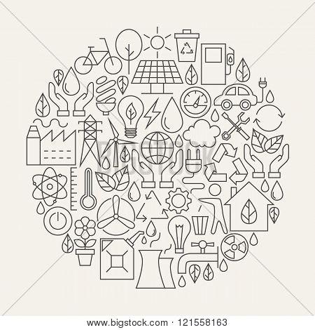 Ecology Line Icons Set Circle Shape