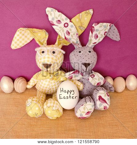 Easter Decoration With Rabbits And Eggs
