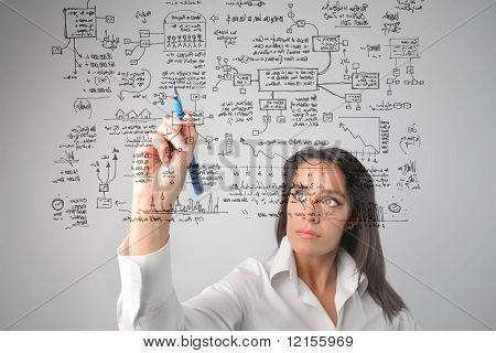 Frau zeichnen ein Geschäftssystem
