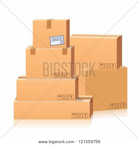 set of postal boxes, parcels. 3d vector illustration isolated on white background