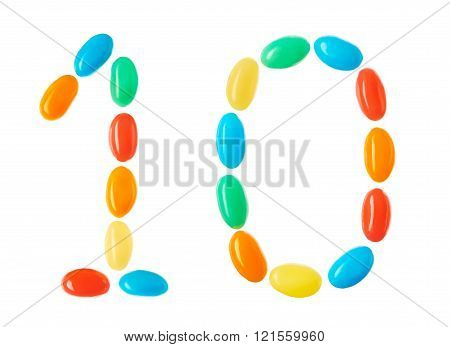 10 number made of multicolored candies isolated on white
