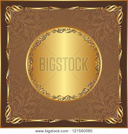 antique background with golden border - vector illustration