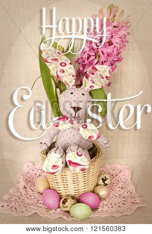 Easter Decoration With Bunny Rabbit In Basket, Eggs And Spring Hyacinth Flower