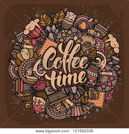 Coffee Round Design in Outline Hand Drawn Doodle Style with Different Objects on Coffee Theme. All elements are separated and editable. Calligraphic Lettering Coffee Time. Vector Illustration.