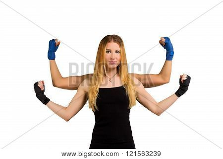 Pretty young woman with strong arms, multi handed