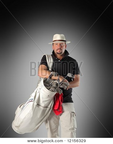 golf player holding bag with clubs isolated