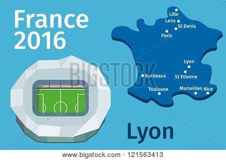 Flat Stadium Lyon City France Football Championship 2016