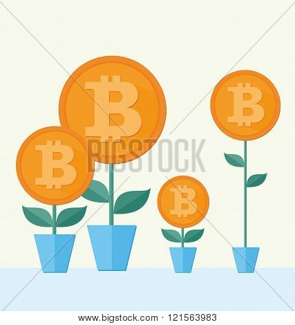 Vector Bitcoin symbol with flower growing. cryptography illustration