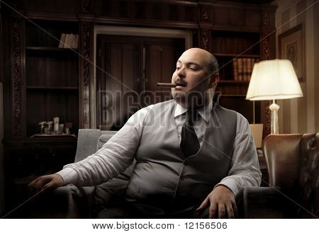 man smoking cigar in a luxury office