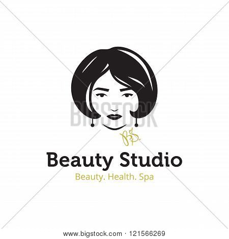 Vector minimalistic beauty studio logo in black and gold colors. Beautiful woman head logo. Spa salo