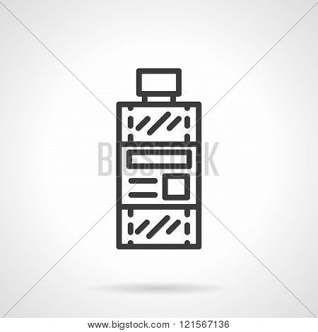 Bottle of solvent black line design vector icon