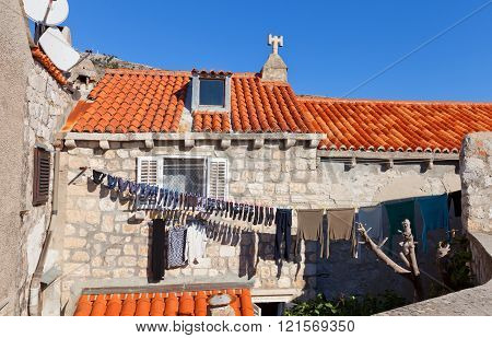 Laundry Is Drying In Old Town Of Dubrovnik, Croatia