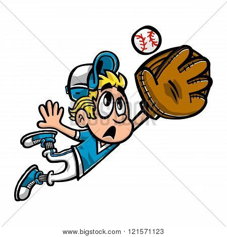 Baseball Player Kid Outfield vector cartoon