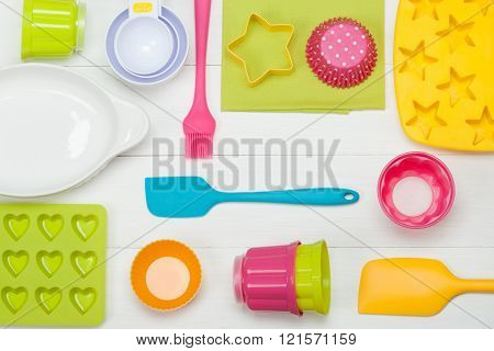 Bakery And Cooking Tools. Silicone Moulds, Cupcake Cases. Measur