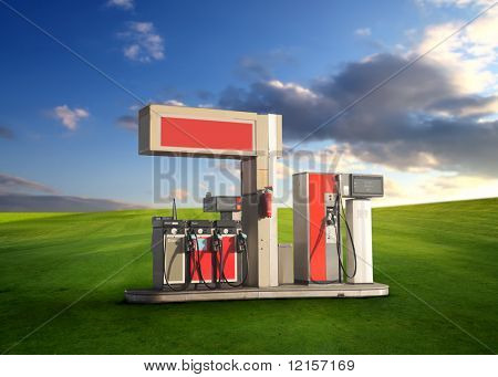 eco concept: gas station in a grass field