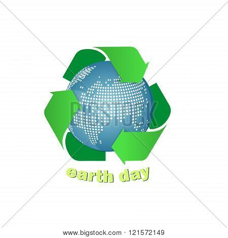 Earth with recycle symbol