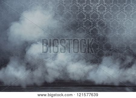 Smoke filled an old vintage room