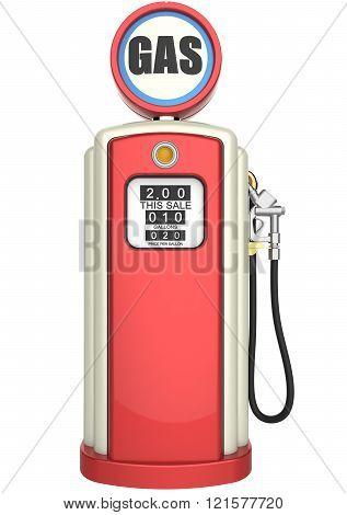 Retro gas pump 3D render
