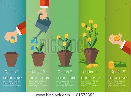 Hand of business person growing the  money tree. Concept illustration.