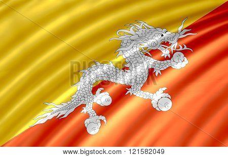 Bhutan waving flag or Bhutan flag texture