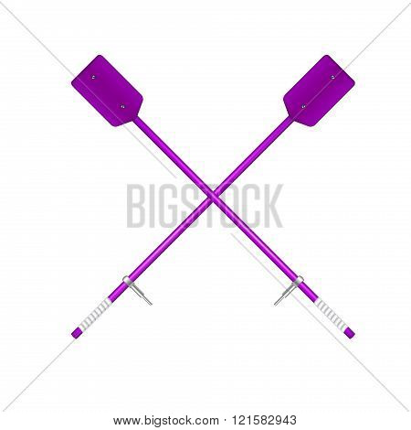 Two crossed old oars in purple design