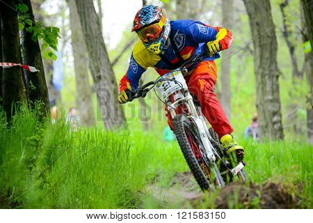 ZAPORIZHZHYA, UKRAINE - MAY 03, 2015: Professional DH Biker is Riding a Mountain Bike on the Trail of Khortytsya Island During the Iron Bridge Competition, a Stage of Downhill Ukrainian Cup.