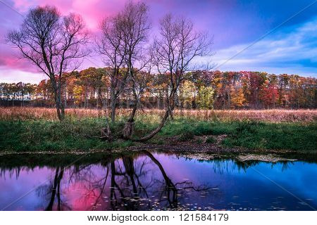 Colorful Clouds and Sky in Autumn. Sunrise Sunset Reflection in Flowing Water. Peaceful Tranquil Serene Nature Background.