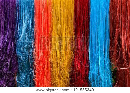 Five colors of silk. Variety exquisite of colorful silk dyeing.