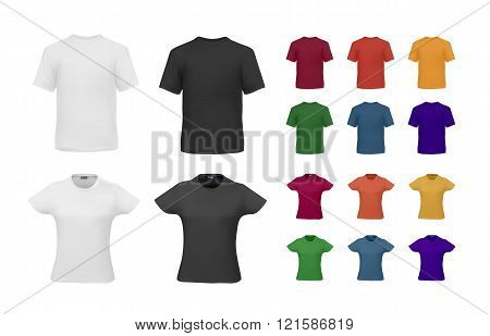 T-shirt template set for men and women, realistic gradient mesh vetor eps10 illustration. Black, white, red,orange,yellow,green, blue colors.
