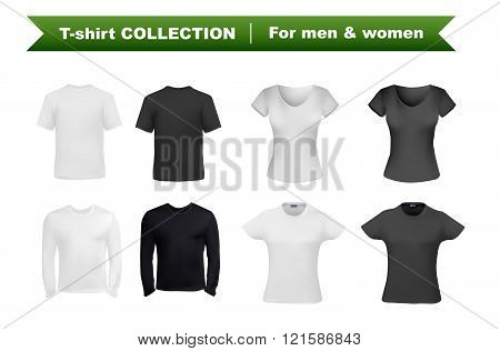 T-shirt set for men and women, black and white t-shirt templates. Short and long sleeved shirt vector eps10 illustration isolated on white background