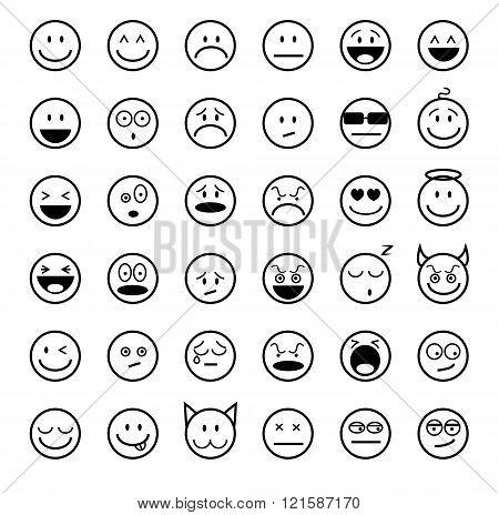 Emoticons outline set