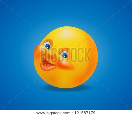 Emoticon cheerful and smling on blue background