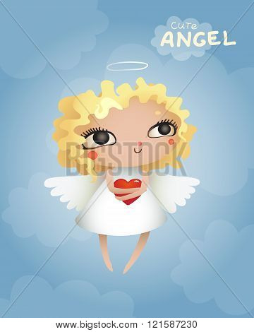 Cute-Angel-with-a-heart-in-the-hands-of