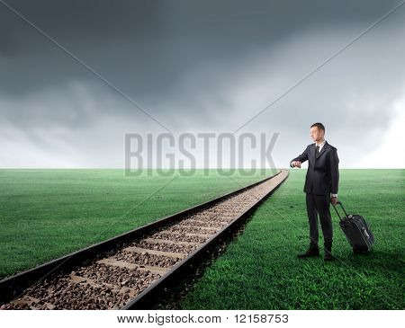 Portrait of a businessman carrying a suitcase and standing next to a railway running through a green meadow