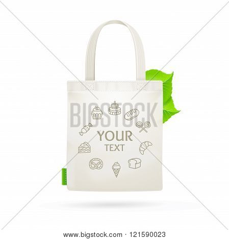 Eco Fabric Cloth Bag Tote. Vector