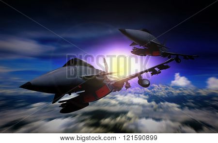 Two Fighter Jet Flying In A Mission
