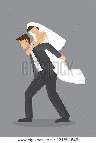 Bridegroom Piggyback Bride Vector Cartoon Character Illustration
