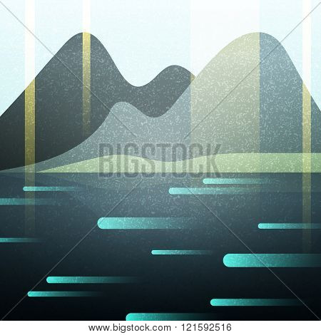 Abstract retro landscape with texture. Lake and  mountains.
