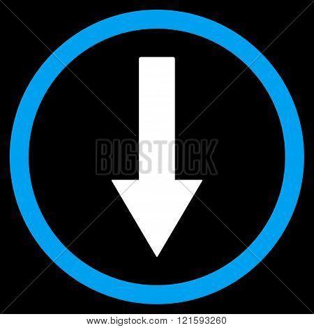 Down Rownded Arrow Flat Vector Symbol
