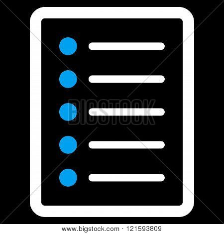 List Page vector icon. List Page icon symbol. List Page icon image. List Page icon picture. List Page pictogram. Flat blue and white list page icon. Isolated list page icon graphic.