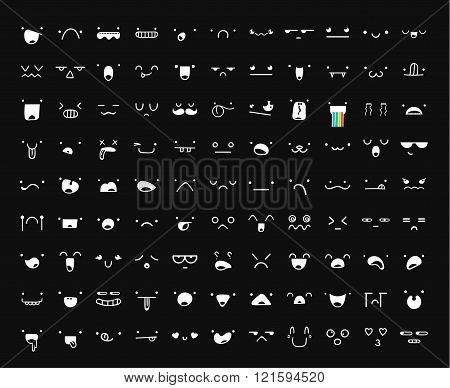 Set 99 different pieces of doddle emotions create characters