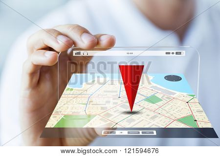 business, technology, navigation, location and people concept - close up of male hand holding and showing transparent smartphone with gps navigator map poster