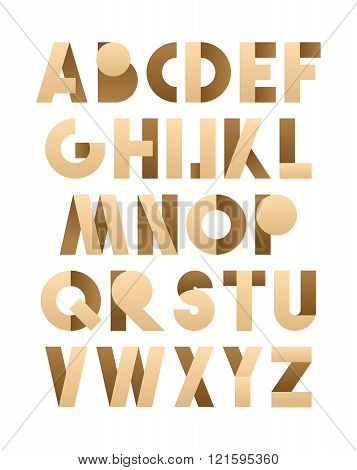 Retro font in brown and beije. Brown alphabet. Realistic letters